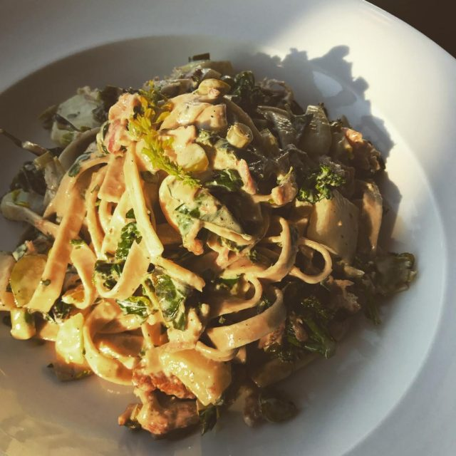 locavore complete! wideawakebakery fettuccine in an autumnsharvest bacon and kohlrabihellip