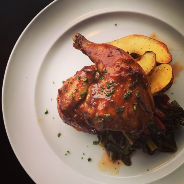 cornishgamehen with collards amp silverqueenfarm fingerlingpotatoes eatdrinkbowl